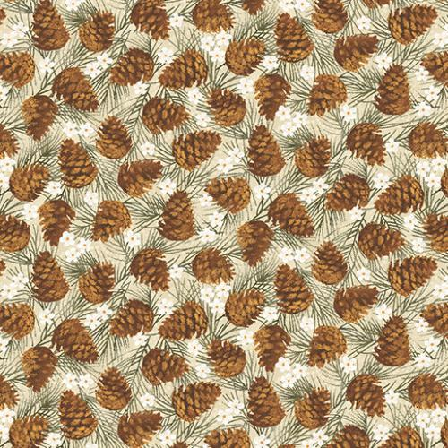 Winter Wonderland Pine Cones Natural 465370 by Bernatex