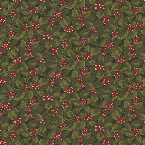 Winter Wonderland Holly & Berries Green/Red 465510 Bernatex