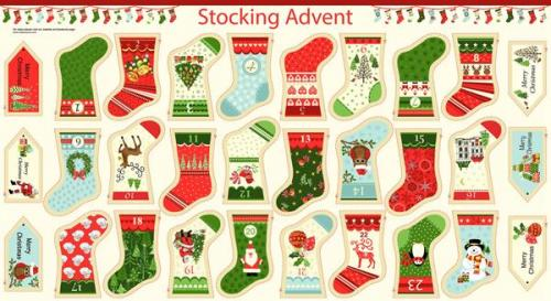 Makower Christmas Panels 1266/1 Stocking Advent Bunting