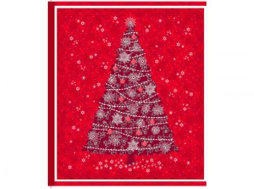 CELEBRATE THE SEASON 23266R rotes Panel 90cm rot,weiß, silberne Weihnachtsbäume